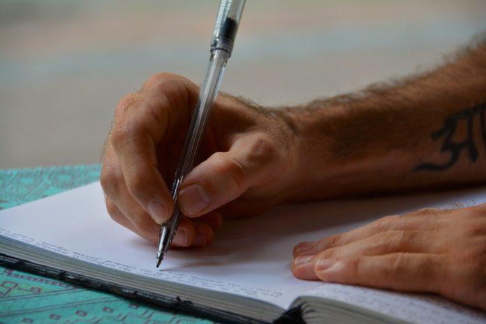 Handschriftlicher Eintrag in Buch